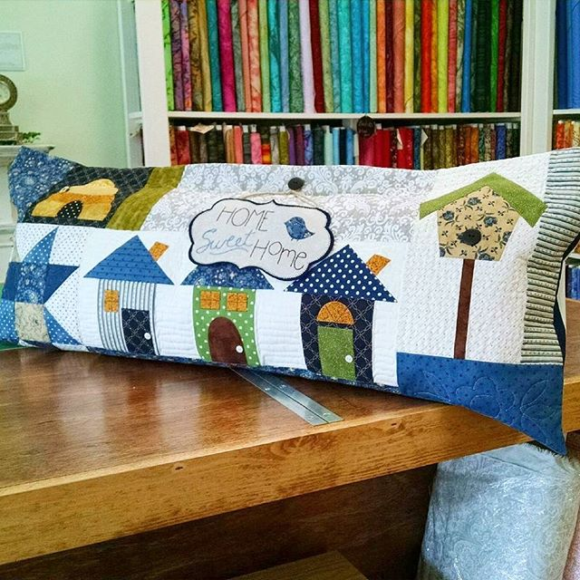 "Kimberbell's ""Home Sweet Home"" bench pillow. #bhamquilts #kimberbelldesigns #bhamlocal"