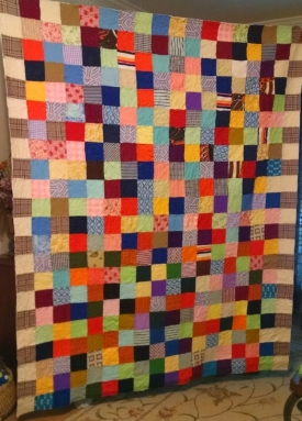 Quilt top made from knit tops, property of Mary Lynn H, quilted by RM 2017.