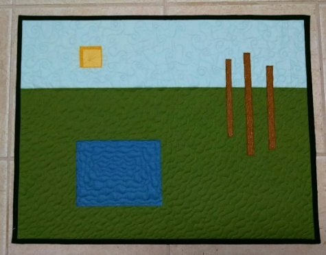 """Landscape"", original design, pieced, quilted and finished by RM 2017."