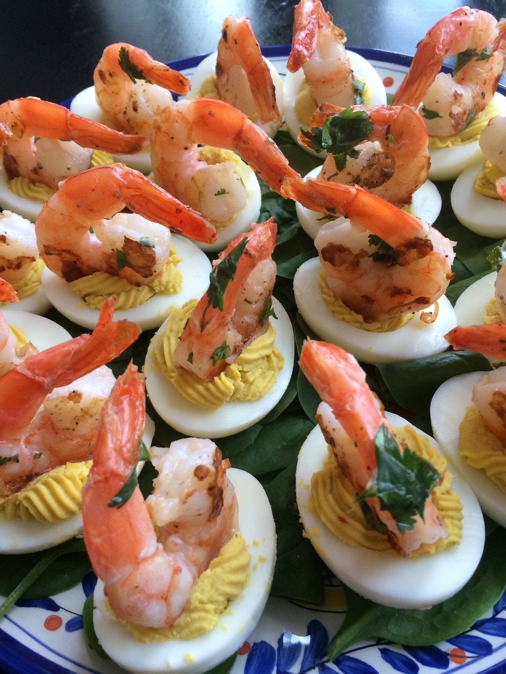 Avocado Deviled Eggs with Grilled Shrimp — measure & pinch