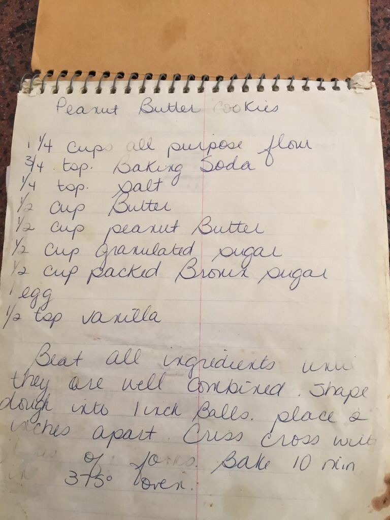 A page out of my sister's very old steno pad with our family recipes.