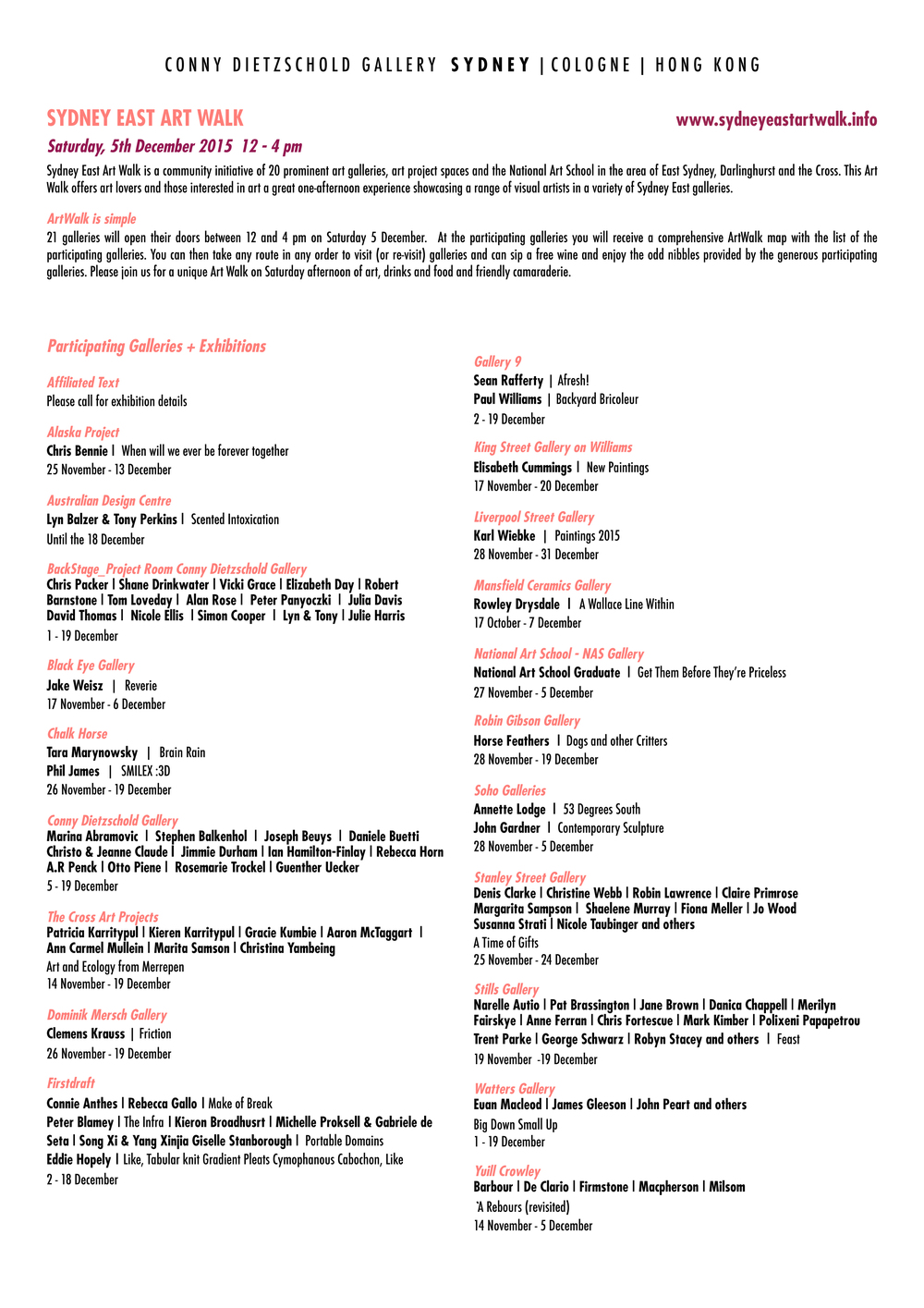 Click to enlarge the Art Walk Program