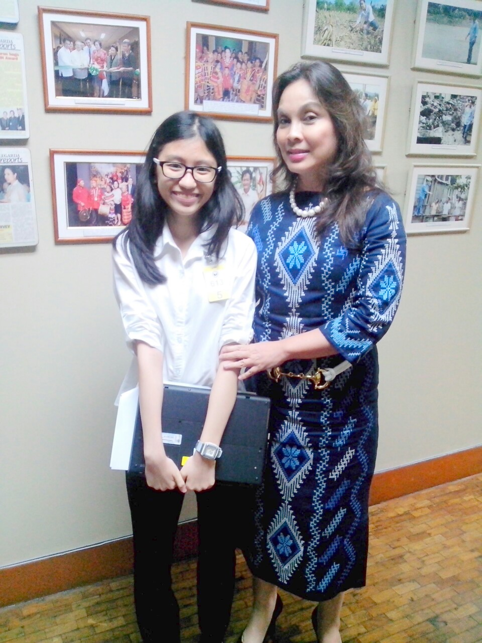 Intern Annicka Koteh with Senator Loren Legarda