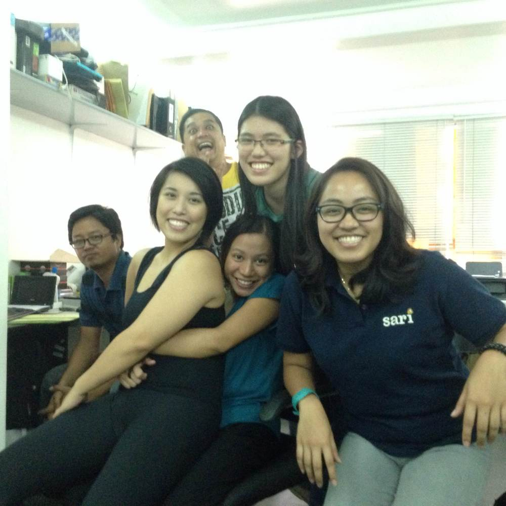 Intern Alyssa Ty with co-workers at Sari Software Solutions.