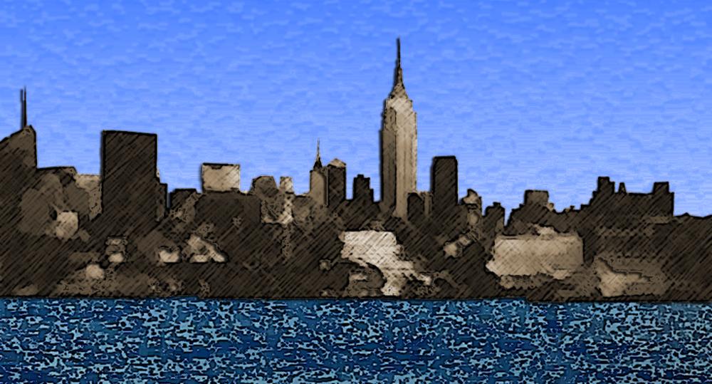 Manhattan skyline. Based off of photo by Sam Beddoes.