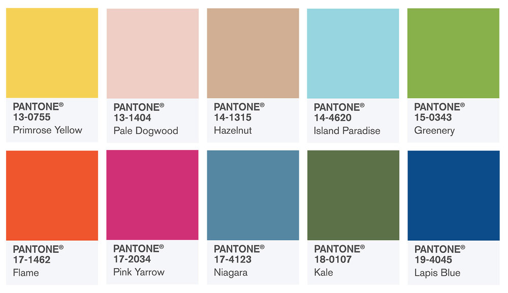 Pantone 2017 Color Swatches