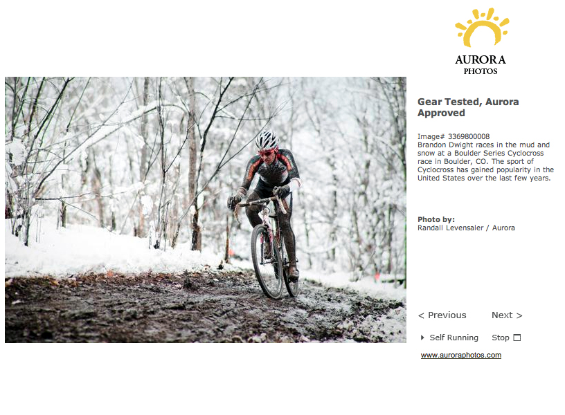 Cyclocross photo featured in recent Aurora Photo web gallery