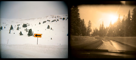 Photo of the day. This diptych was made from two separate images captured while driving to go skiing. I'm dreaming of skiing, wishing the conditions were better.