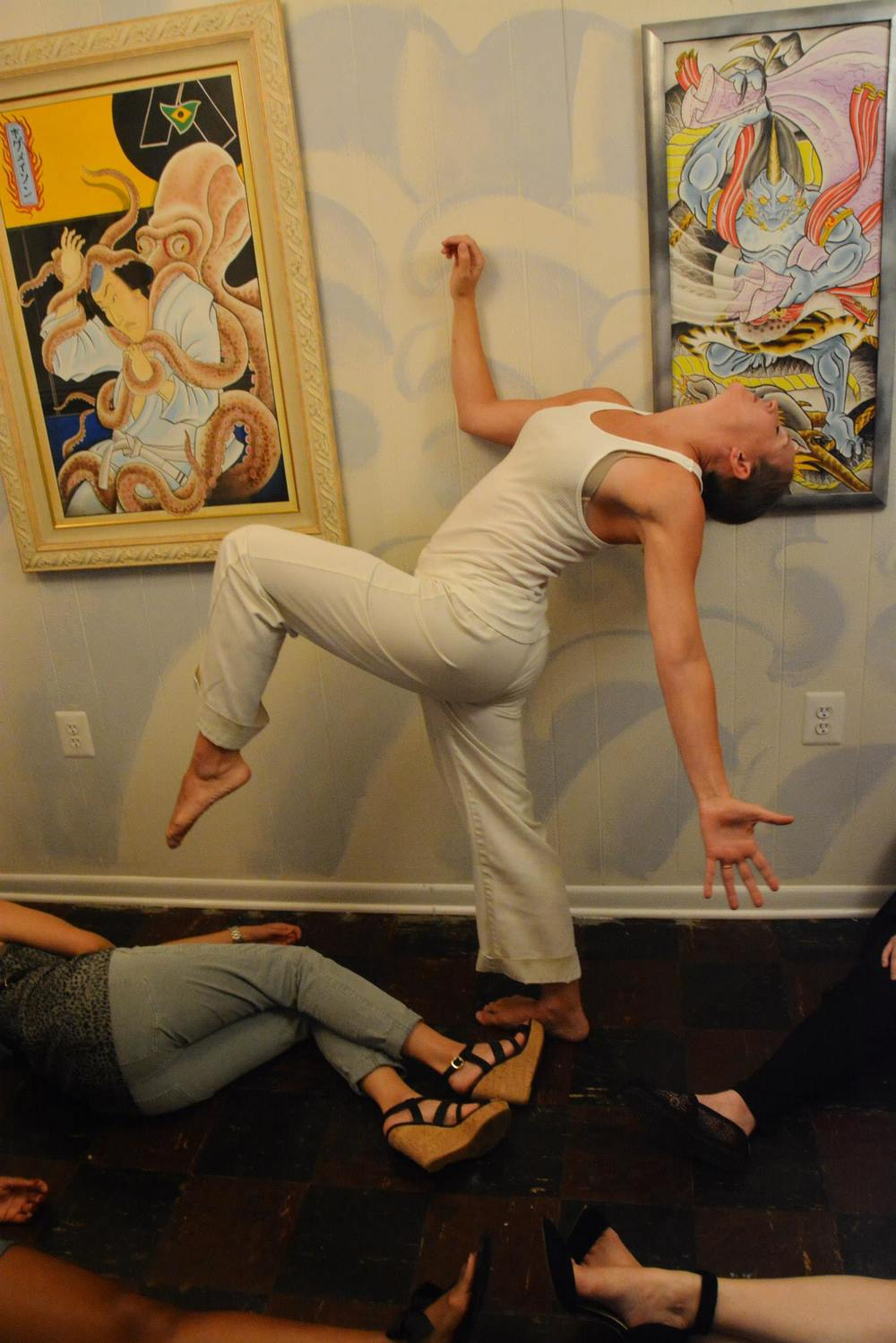 Photo of Kelly King, of Contradiction Dance, performing in ReCreative Spaces. Photo by John Kagia.