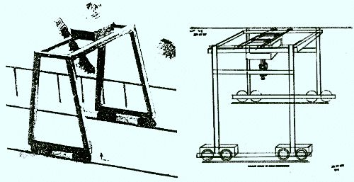 Drawing's (right) accurately illustrating a crane inside a Russian underground base from remote viewing psychics.