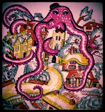 artwork by Gower Parks from England and the Octopus 1928, by Clough Williams-Ellis.