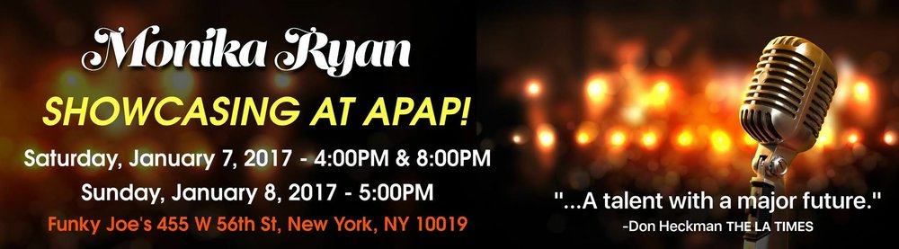 Showcasing at APAP Saturday January 7, 2017 at 4:00 PM and 8:00 PM and again on Sunday january 8, 2017at 5:00 PM. Just a short 15 minute walk from the New York Hilton at Funky Joe's (455 W 56th St, New York, NY 10019)   Open martini & wine bar and catering from Katz Deli to all APAP badge holders! Schedule a time to meet us at Booth Number: 2022 Americas Hall II - Level 3