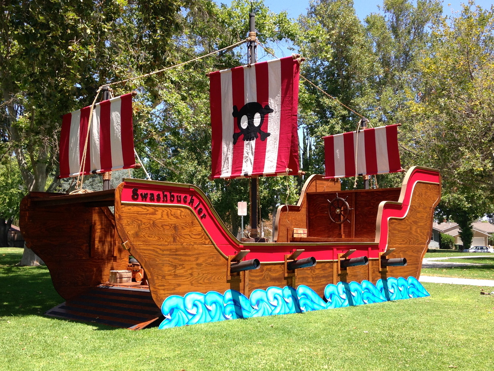 The Swashbuckler has been designed to be assembled and disassembled within hours at any location your land lovin' heart desires.  Whether at your home or a local park, she will set sail and make your child's celebration one to remember.