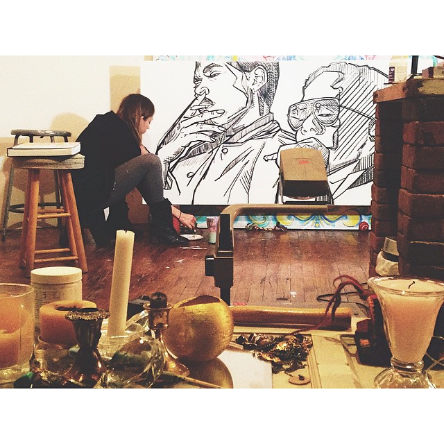 taken exactly a year ago, me working on my @chancetherapper + @__king_louie__ piece which now hangs at @lacuna2150. crazy how time flies, especially when you love what you do. #jasofchicago #lacunalofts #pilsen #chicago
