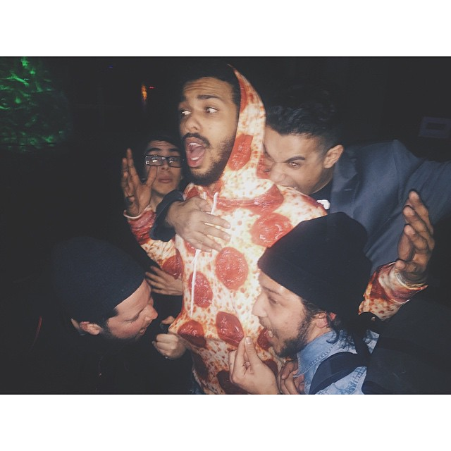 that's what happens when you dress up like pizza in a room full of hungry heathens, THEY EAT CHU.