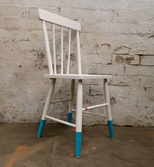 AFTER  Refurbished Shaker-style timber chair with a smooth matt white finish and Tiffany & Co coloured legs.