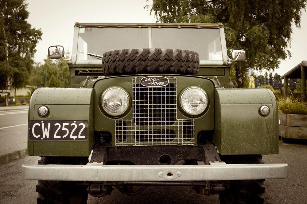"The famous ""Barbecue Grille"" and ""Land Rover Eyes"" look of the sharp-end of early Series Land Rovers.  Seriously - you can use the mesh over a campfire as a makeshift grill.  Flat fenders make great tables to boot."