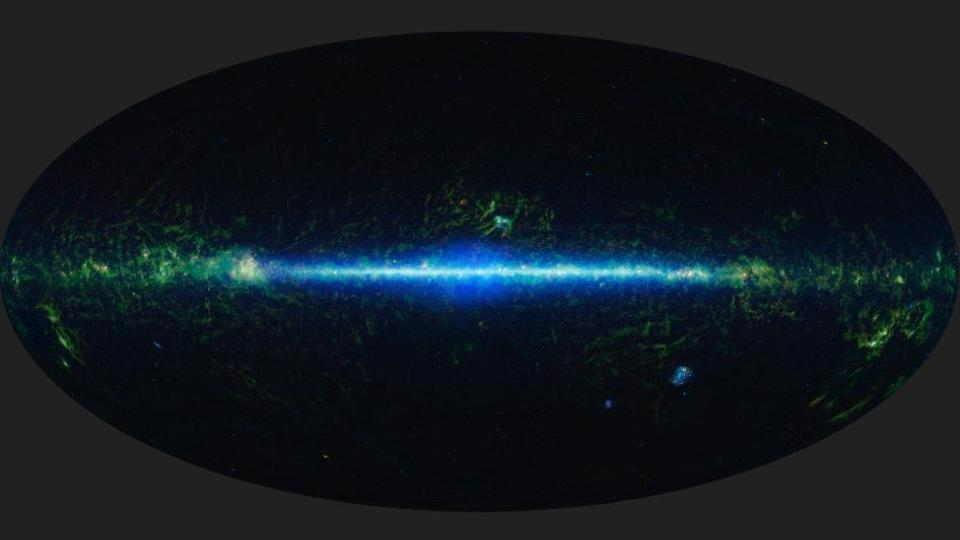 "The entire universe in one picture. The ray of light.     ""Mapping the infrared universe"";  This is a mosaic of the images covering the entire sky as observed by the Wide-field Infrared Survey Explorer (WISE), part of its All-Sky Data Release.  Image Credit: NASA/JPL-Caltech/UCLA"
