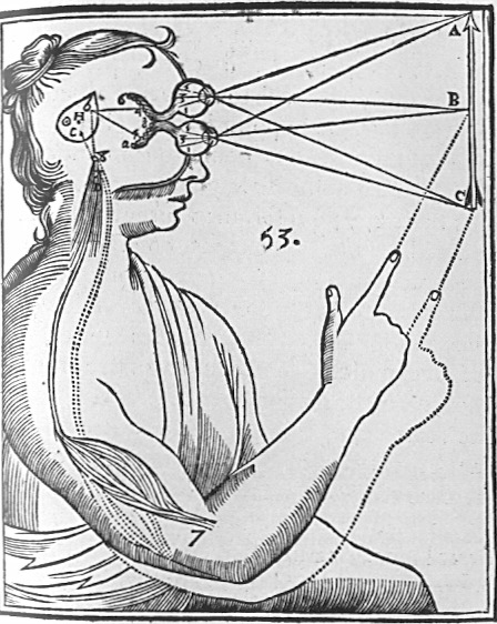 René Descartes 's illustration of dualism. Inputs are passed on by the sensory organs to the  epiphysis in the brain and from there to the immaterial spirit.