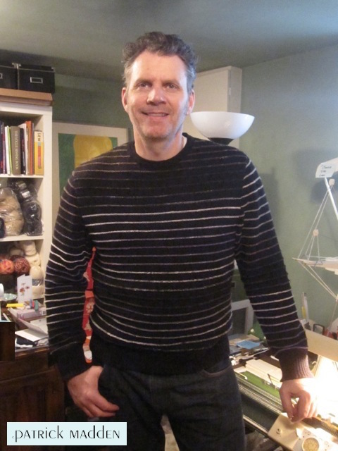 Yours truly wearing my Garter Ridge Pullover© which I designed.