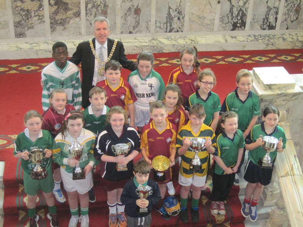 The Belfast teams with Belfast Lord MayorMáirtín Ó Muilleoir