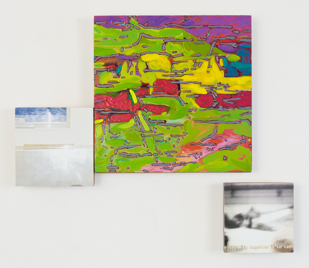Our life together  , 2010,   oil and archival inkjet prints on 3 panels   dimensions variable