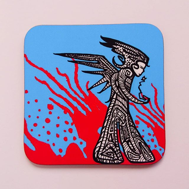 New coaster now available at my ingingerness Etsy shop. www.etsy.com/UK/shops/ingingerness #etsy #Ingingerness #fairy #funkyfairy  #fairies #art #edinburgh #Dalkeith #artinburgh