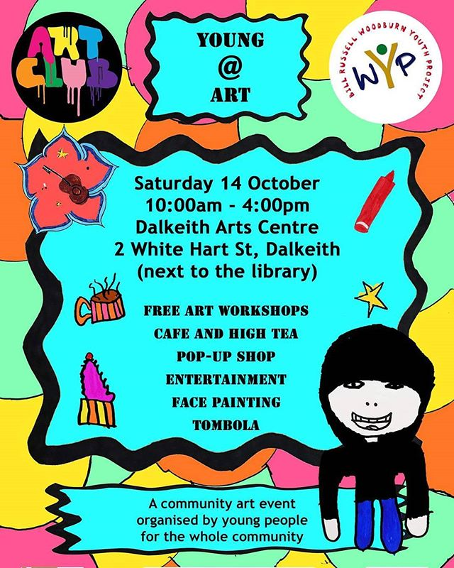 Hey if you're in #Dalkeith next Saturday come down to this event that young people have organised. It's going to be a lot of fun and there are no age limits on the workshops!