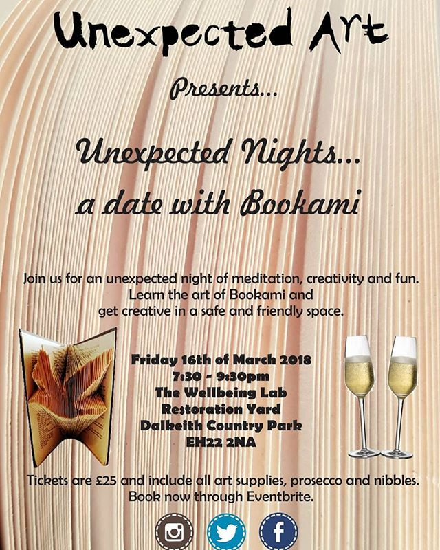 Get back out there again with @unexpectedart1 and their new Unexpected Nights. A great way to meet new people, learn something new and get creative.  @angelpixielove @restorationyarddcp  #getcreative #cabinfever #Dalkeith #art #wellbeing #bookami