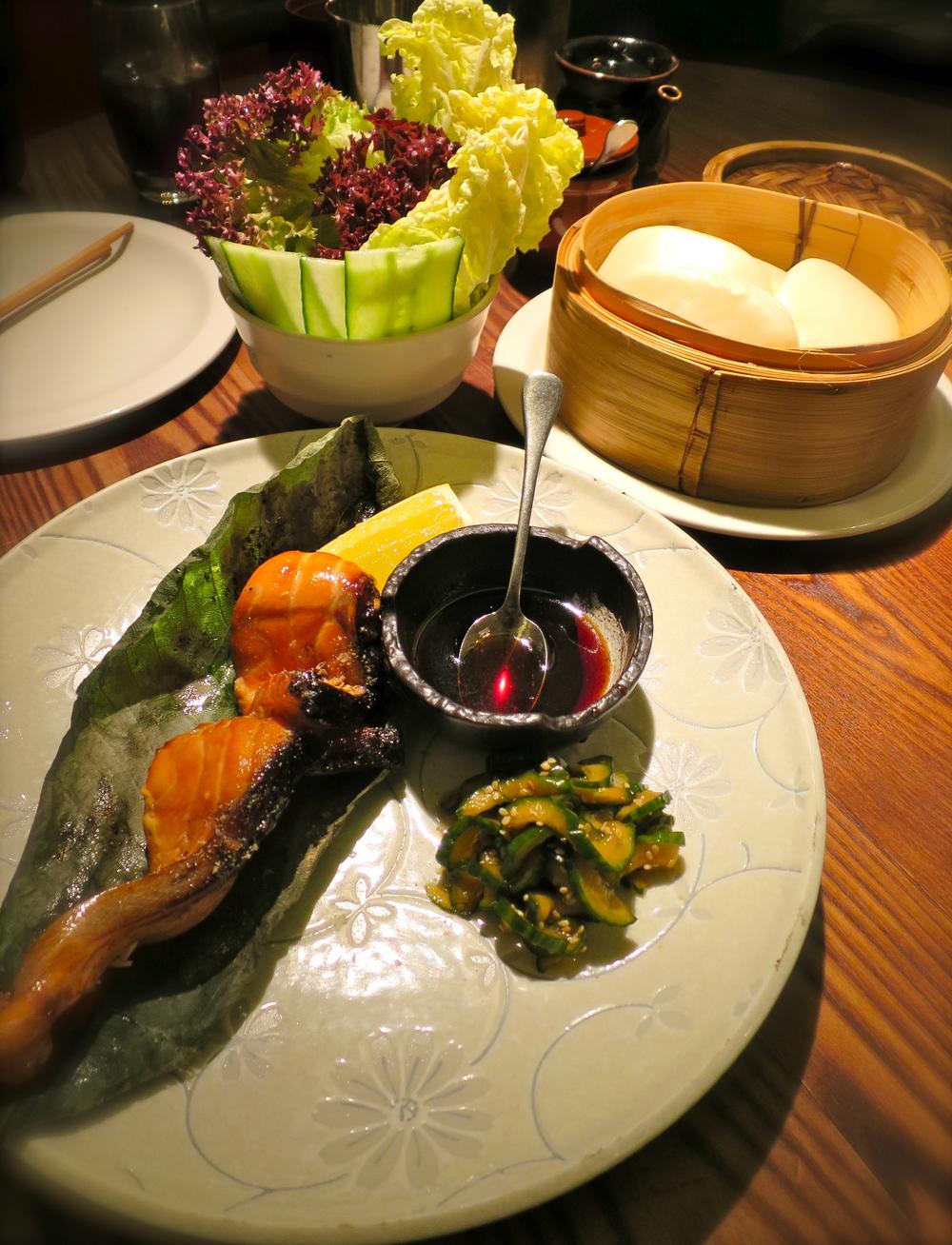 Salmon teriyaki - the flesh to accompany our buns!