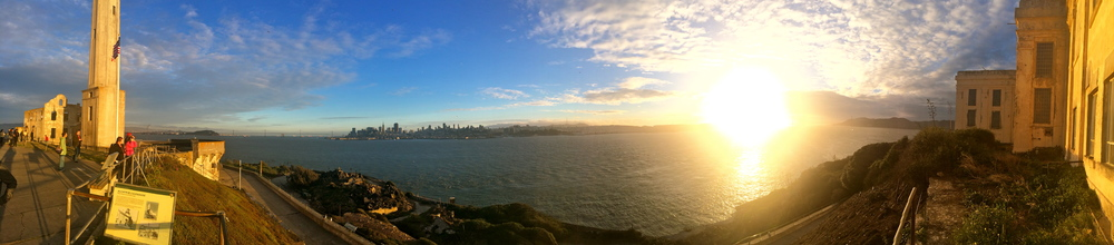 Panorama of the city from Alcatraz Island.