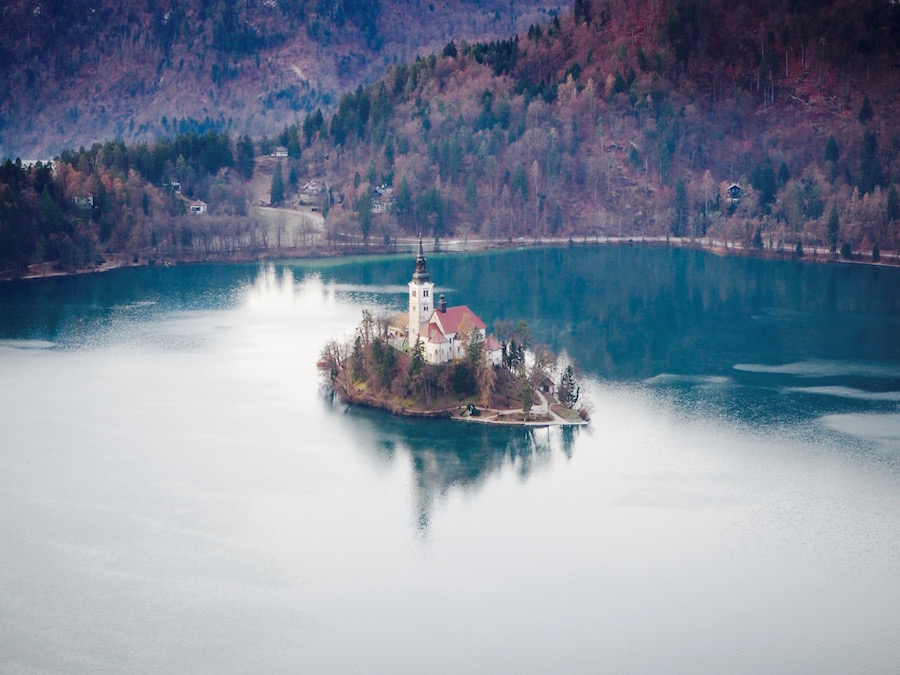 Hot Air Balloon Over Lake Bled