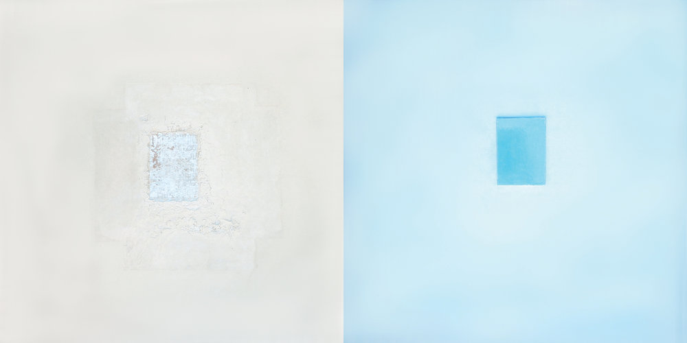 Andrew Hancock, Untitled I, II (pair), 2015. Mixed media on board (c) Andrew Hancock. New work created for the Mdina Biennale.jpg