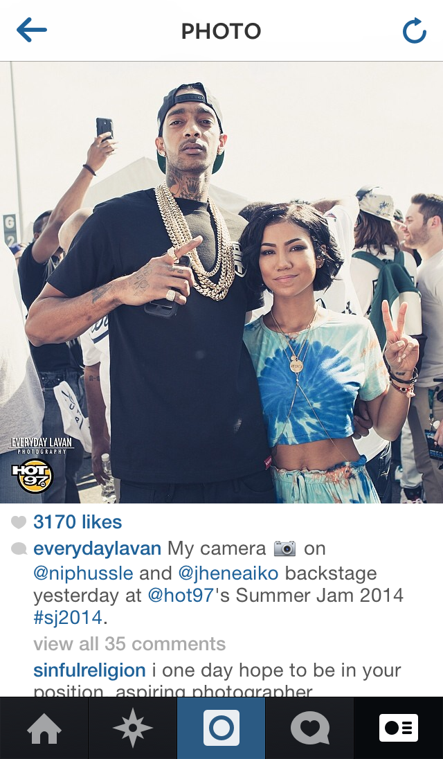 Instagram post screen capture of Nipsey Hussle and Jhene Aiko, backstage at Summer Jam 2014's festival stage.