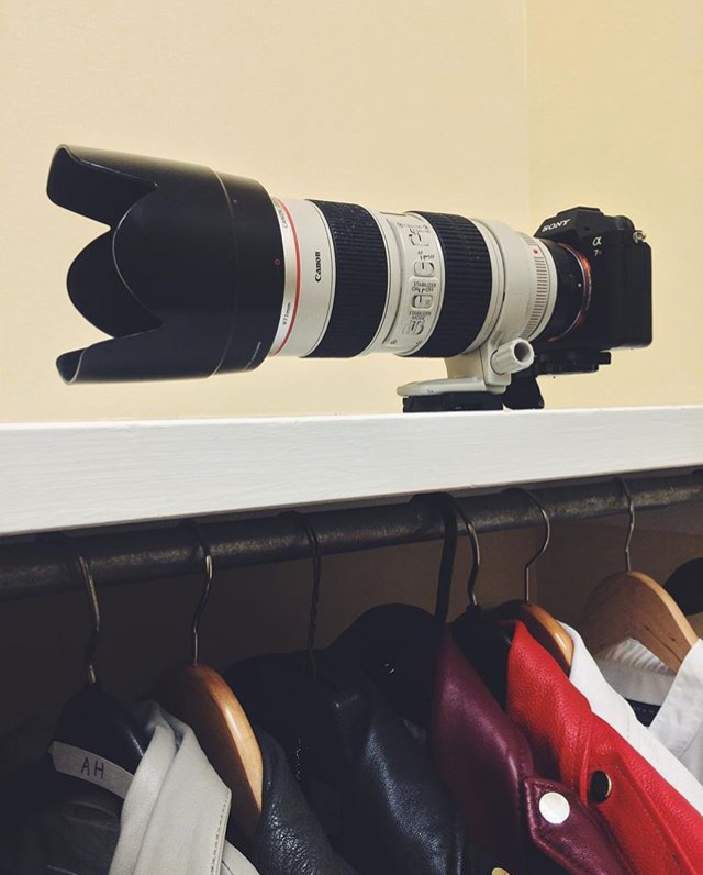 Sony a7r II with a Canon 70-200mm f/12.8 lens, via a CommLite adapter.