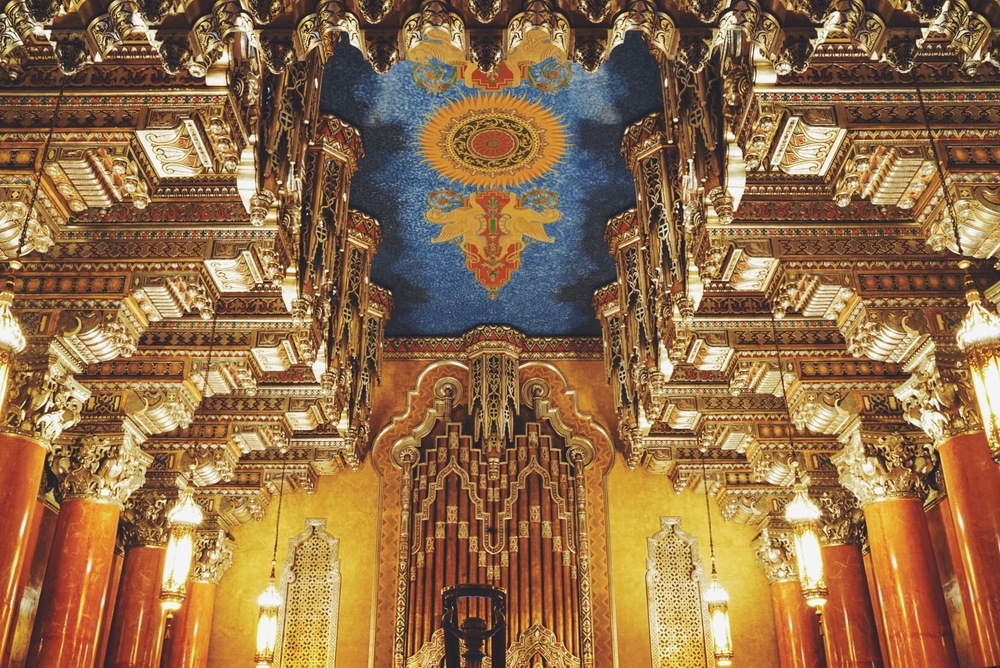Photo of the lobby ceiling, of the Fox Theatre in Detroit.
