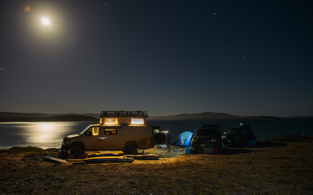 Camp under a firing full moon