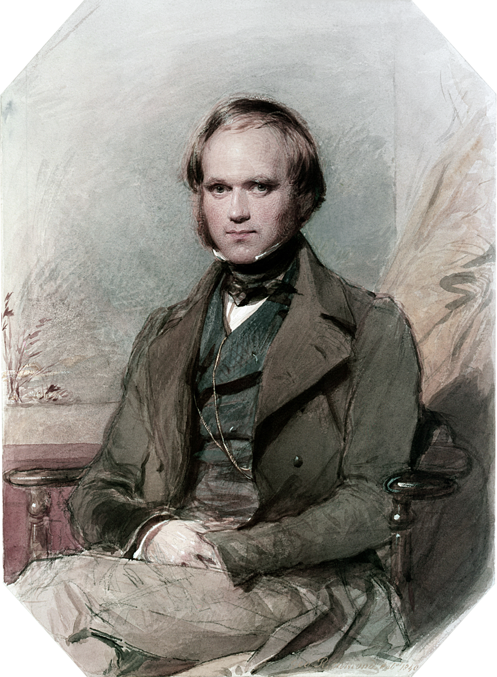 Charles Darwin as a young man after his return from the voyage of the  Beagle