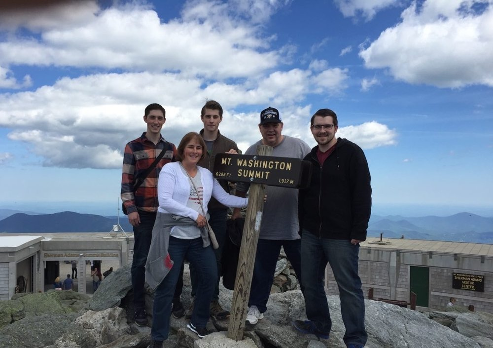 Thomas family at the top of Mount Washington in the White Mountains of New Hampshire in the summer of 2016.