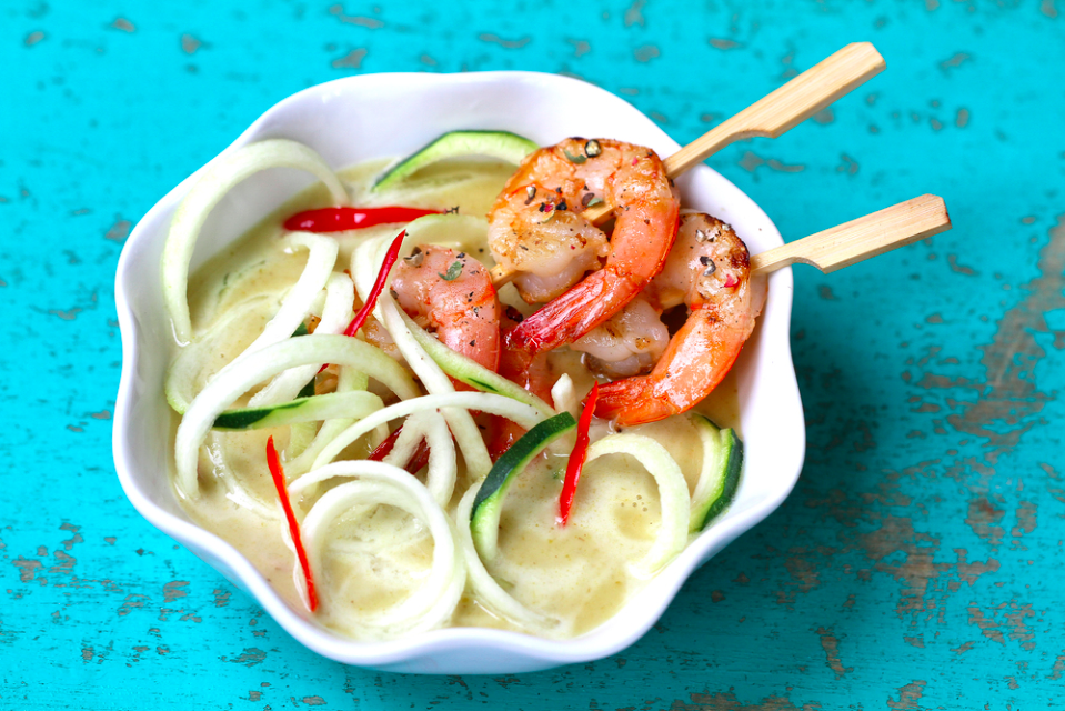 Zoodles Green Curry with Grilled Shrimp