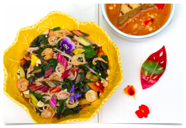 Rainbow Chard with Thai Peanut Sauce