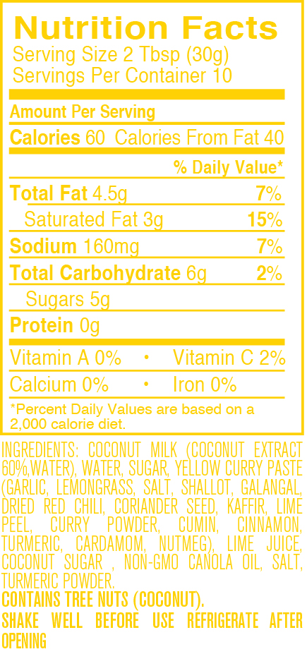 Yellow Curry nutritional facts