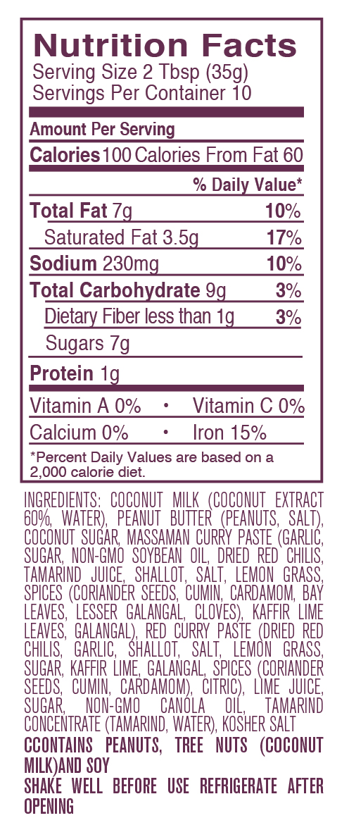 Peanut Sauce nutritional facts