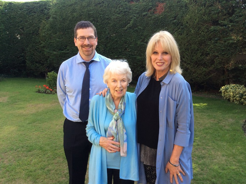 (L-R) Steve Doherty (producer), June Whitfield, Joanna Lumley