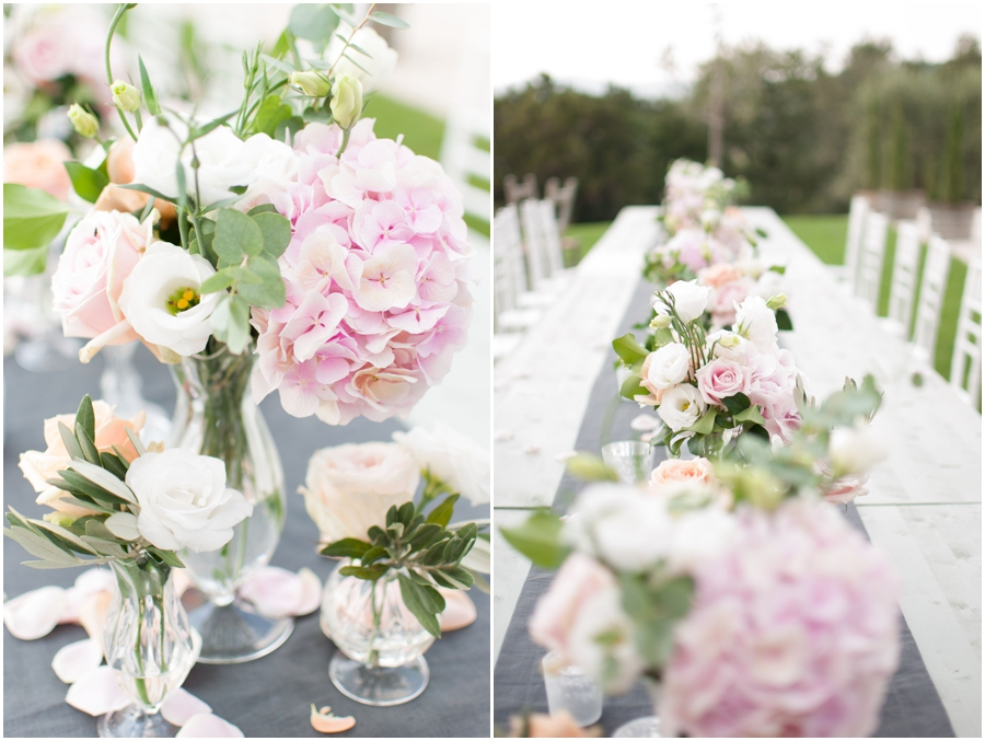 Pink Hydrangeas, Pearl and Peach Avalanche roses, white Lysianthus and olive green in glass vases.