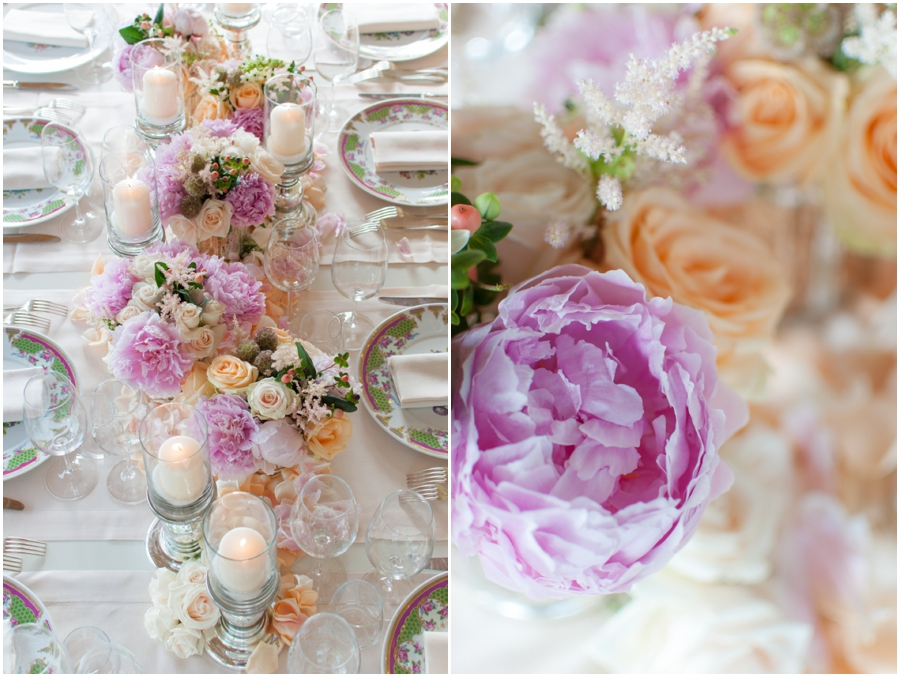 Beautiful pink peonies, peach Avalanche roses, Astilbe an Hypericum berries. All mixed with silver candle holders and mercury glass vases.
