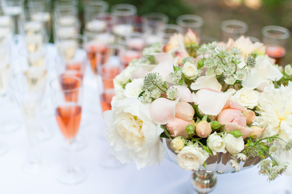 Elegant flowers on the champagne table.