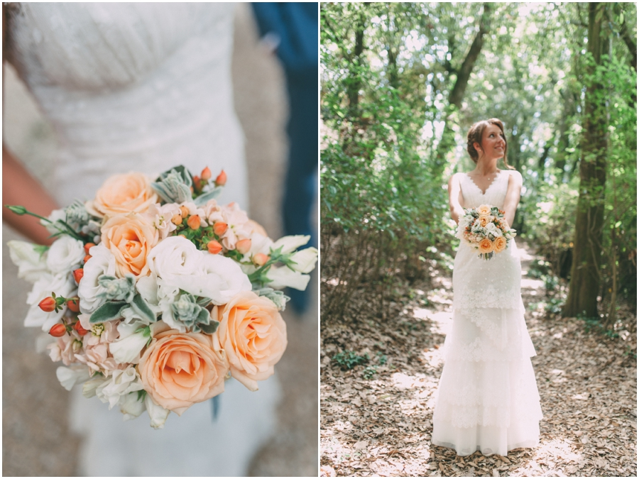 Peach and grey bridal bouquet with Peach avalanche roses, hypericum berries, lysianthus and dusty miller.