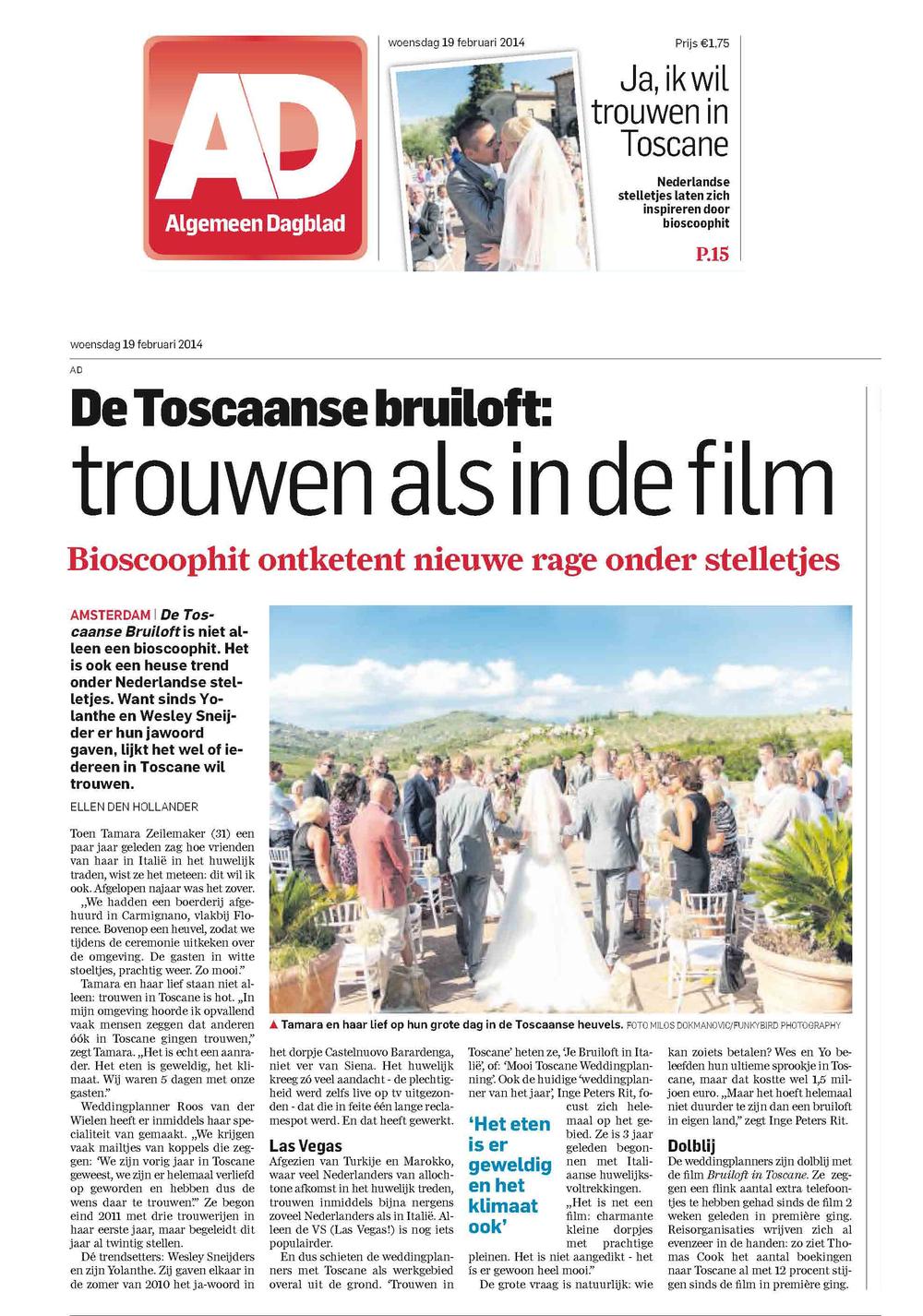 Trouwen in toscane Algemeen Dagblad 3-2.jpg
