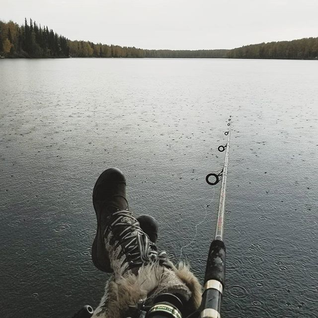 It may be 45 degrees and raining but we're  going to enjoy the heck out of this solitude anyways!! #Alaska #fishingintherain #icantfeelmyface
